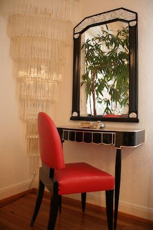 art d co konsole mit spiegel und stuhl ingrid boese lagergren art deco kunst antiquit ten. Black Bedroom Furniture Sets. Home Design Ideas